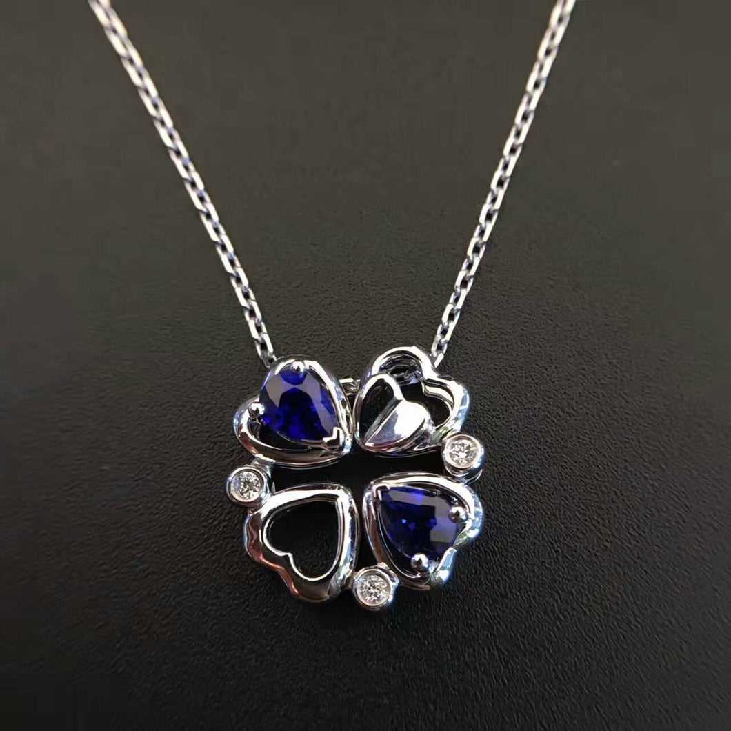 18K White Gold 0.402ct Natural Sapphire + 0.025ct Diamond Pendant Necklace with Certificate sapphire-jewelry