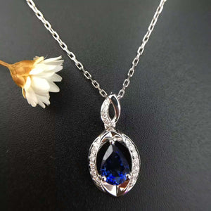 18K White Gold 1.149ct Natural Sapphire + 0.099ct Diamond Pendant Necklace Fine Jewelry Perfume Bottle Pendant with Certificate