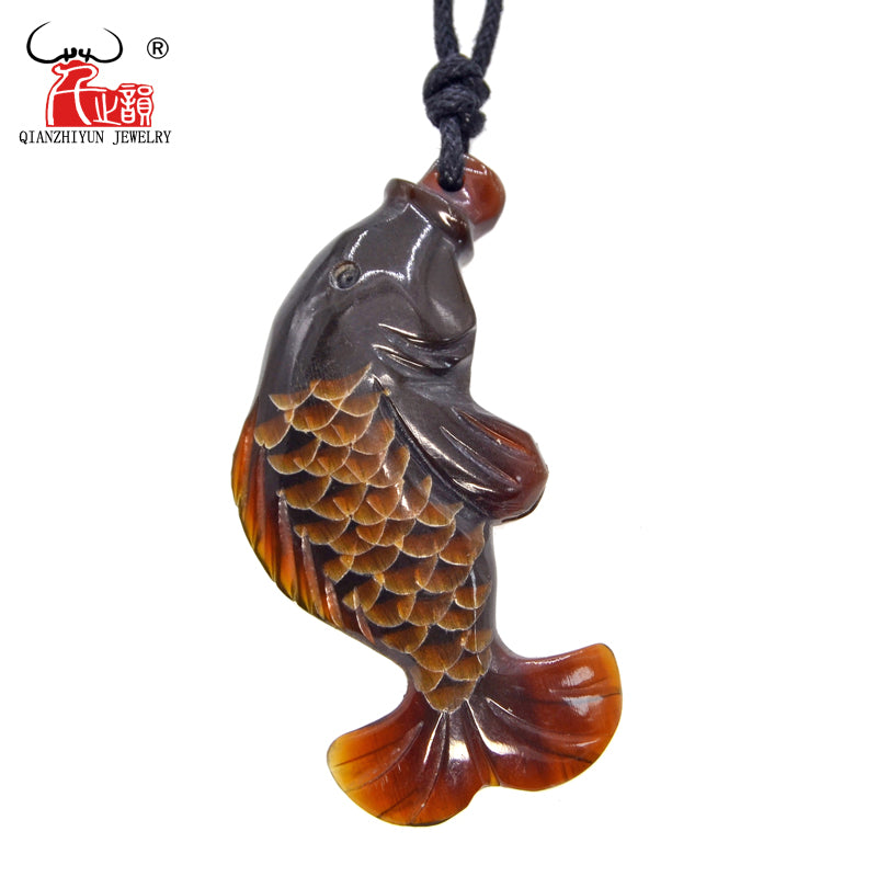 1PC Handmade Carved Natural Yak Horn The Fish Pendant Necklace Fashion Jewelry Tibet Handmade Jewelry