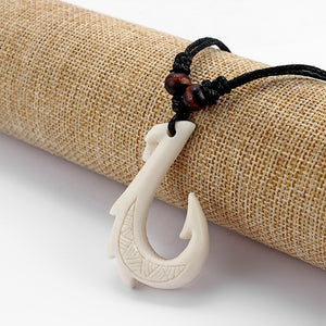 1Pcs Ethnic Tribal Imitation Yak Bone Resin Carving Maori Hook Pendant Necklace Black Wax Cotton Cord