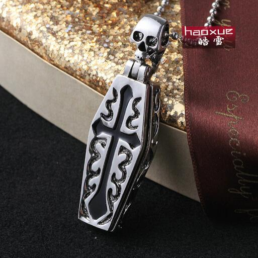 1pc Fashion Men's Jewelry Mummy Coffin Skull 316L Stainless Steel Necklaces Co Skeleton Pendant