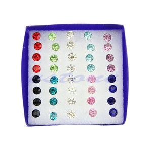 20 Pairs Clear Multicolor Crystal Allergy Free Ear Studs Earrings new