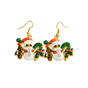 2015 Christmas Full Rhinestone Snowman Drop Earring Fashion Gold Small Cute Jewelry for women girl gift E0005