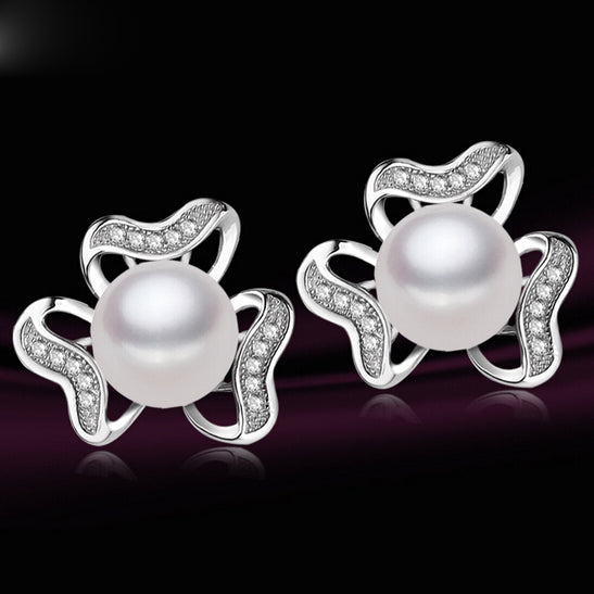 2015 New Item Real pearl Women's Flower Stud Earrings for girl's Birthd gifts