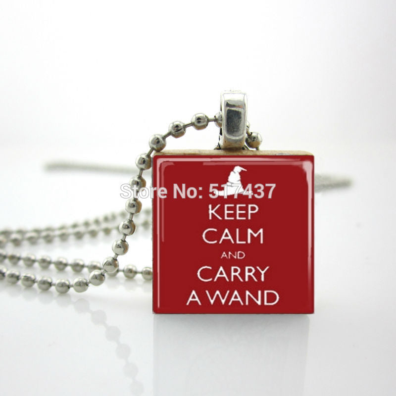 2015 New Quote Scrabble Pendant Keep Calm And Carry A Wand Necklace Scrabble Tile Necklace