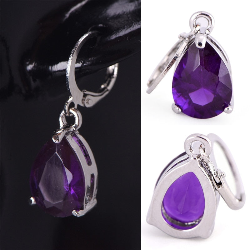 2017 Fashion Design/Girl's Silver Plated and Crystal Purple Color Drop Dangle Earrings Gift Jewelry women
