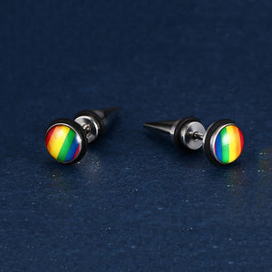 2017 New Fashion Round Design Stainless Steel Earrings Rainbow Color Stud Earrings For Women And Men