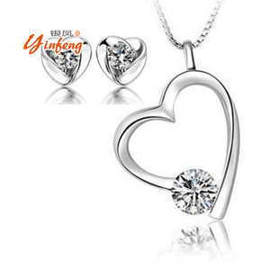 2017 New Love Heart Pendant Necklace Earrings White Fashion Jewelry for Women Party Jewelry
