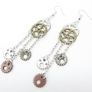 2018 The Original Design Gears and Chain Tassels Steampunk Fashion Earring