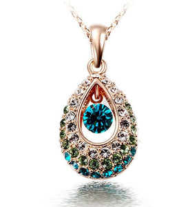 2018 Gold Angel Teardrop Crystal Necklace Jewelry Colorful Crystal Rhinestone Necklace Valentine's D gift jewelry