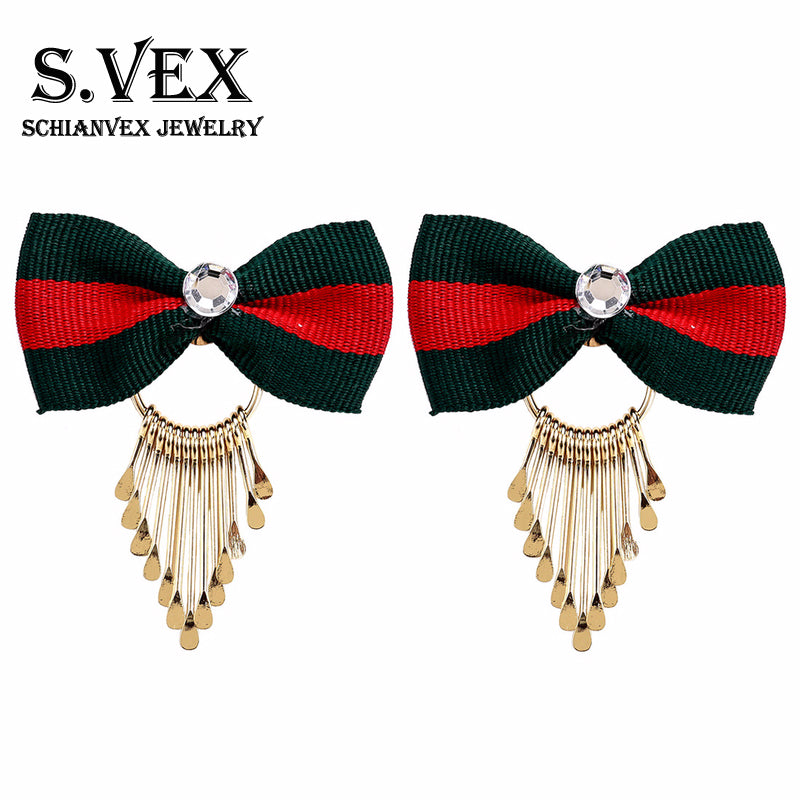 2018 Hollow Long Stud Earrings Jewelry Bow-knot Vintage tassel Earrings for Women Accessories Zircon Indian Jewellery