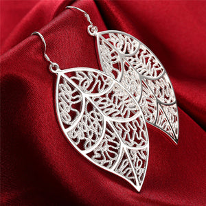 2018 New Arrival Fashion 925 Jewelry Silver Fashion Leaf Earrings For Women Best Gift