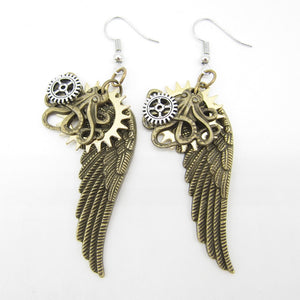 2018 New Original Design Brass Ox Octopus and Wings Vintage Steampunk Charm Earring Fashion Jewelry