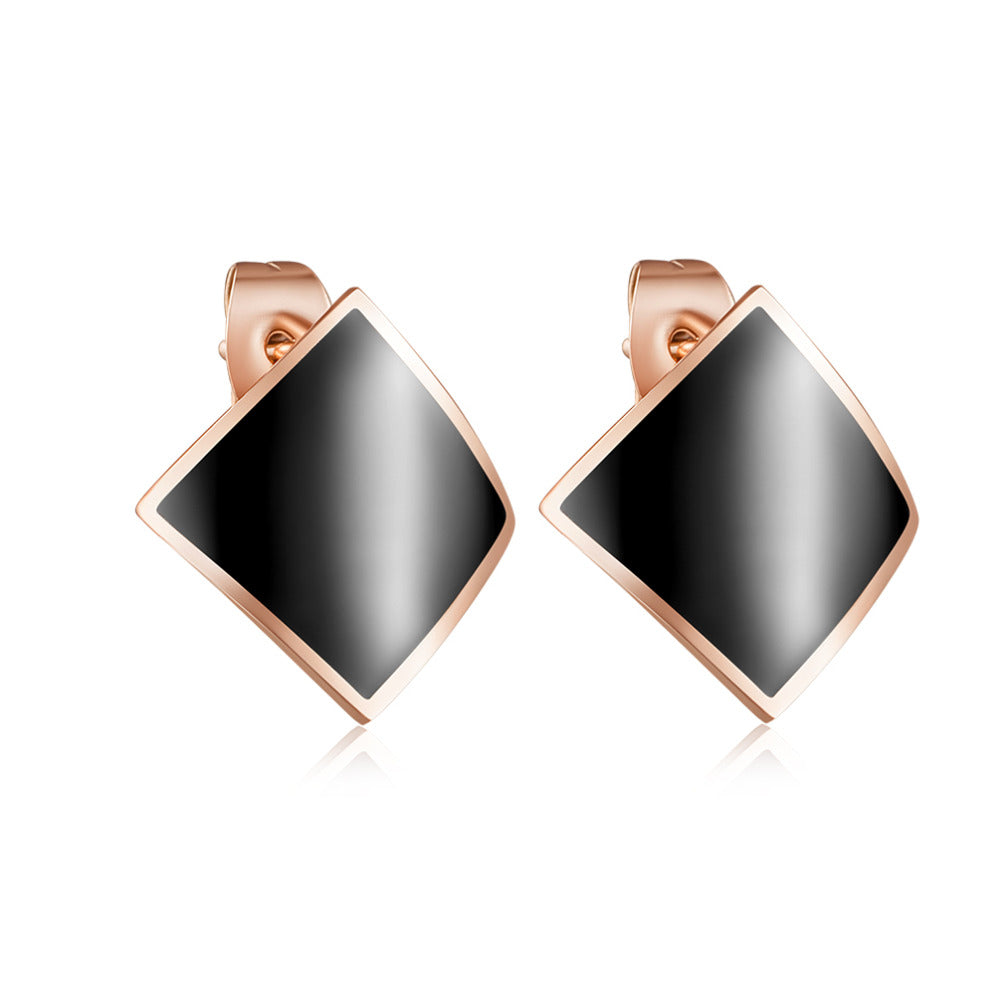 2018 New Rose Gold Color Titanium Steel Black Enamel Stud Earring for Women Curved Geometric Square Earring Piercing Jewelry