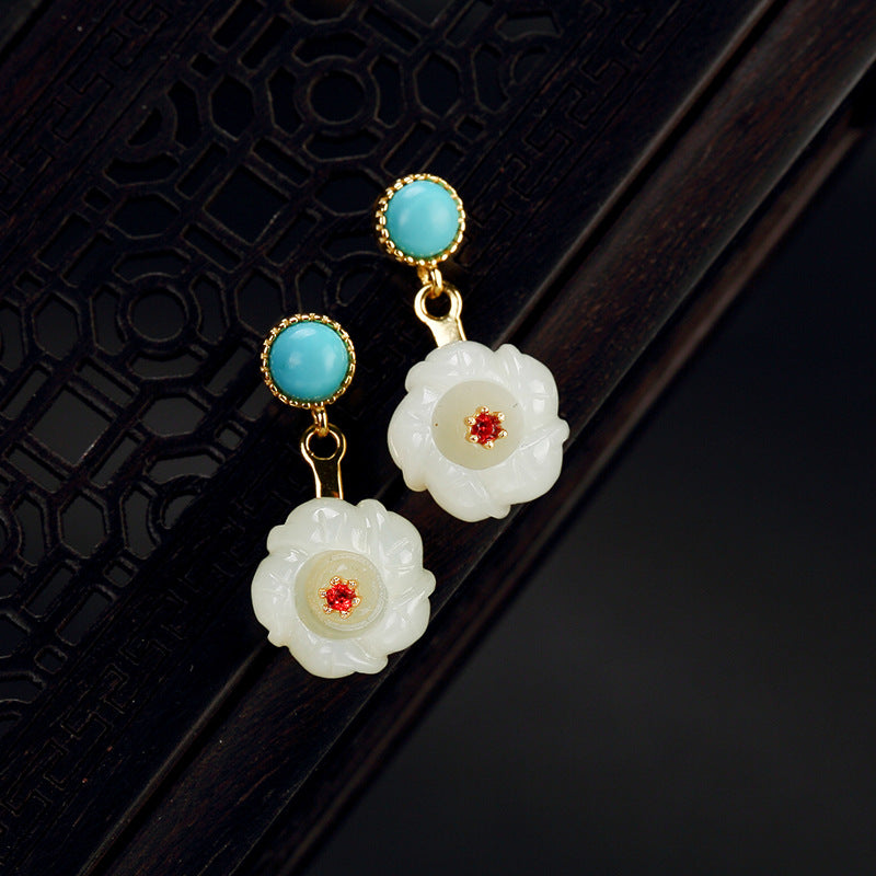 2018 Real Sale Brinco Natural Turquoise Hetian Jade Plum Blossom High-grade Joker Female Earrings Restoring Ancient Ways