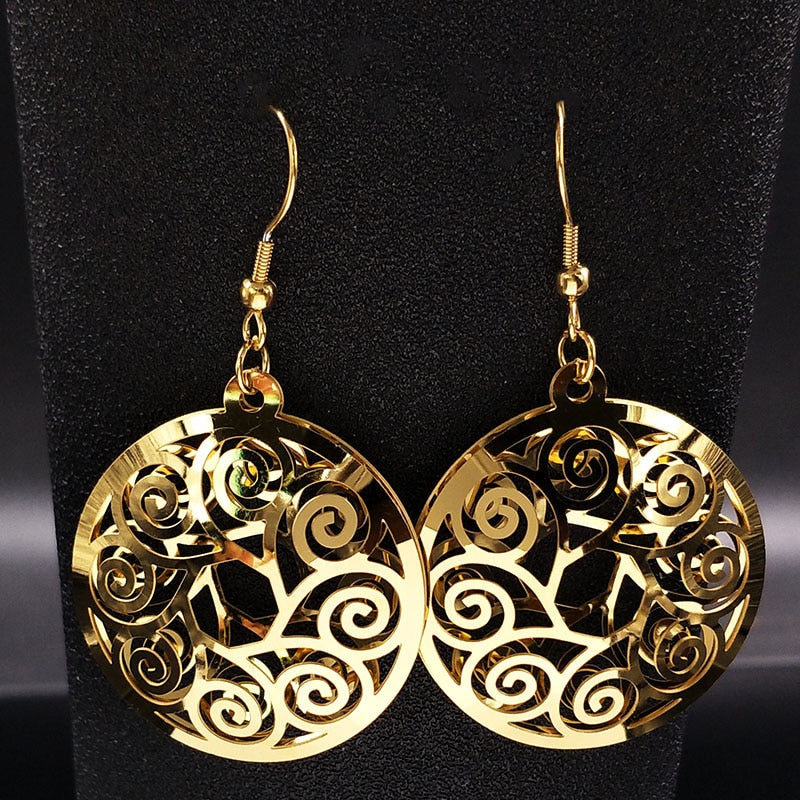 2018 Round Bohemian Stainless Steel Earrings Women Jewelry Gold Color Earings Jewellery boucles d oreilles femmes 2018 E612402
