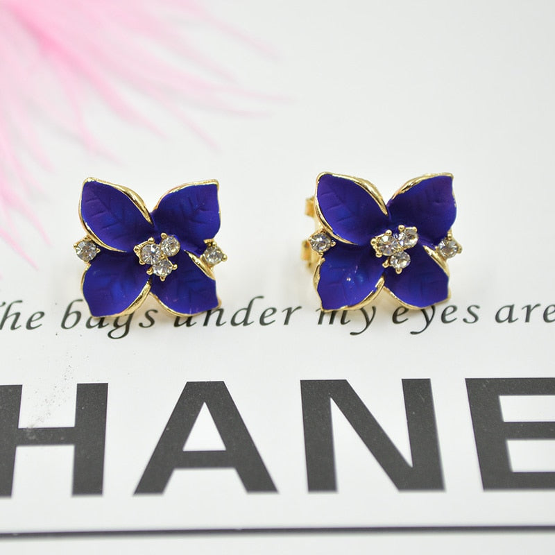 2018 New Arrival Korean Gold Color Rhinestones Crystal Flower Earrings Piercing Purple Four Leaf Clover