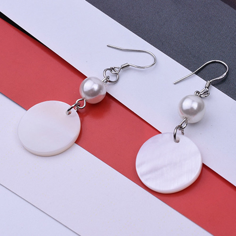 2018 fashion natural circle shell simulated pearl earrings South Korea version sweet elegant earrings fashion jewelry