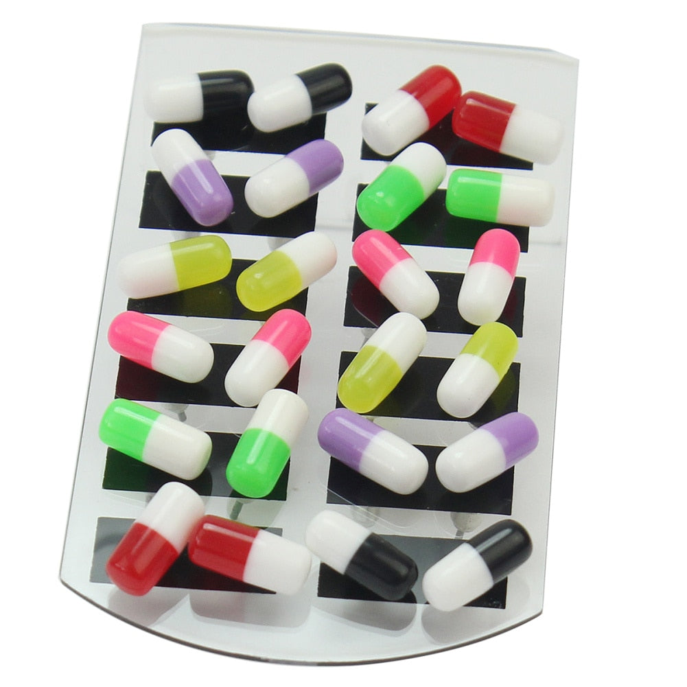 24Pcs Women Girls Studs Earrings Trendy Tablet Pill Design Ear Studs for Party Wedding