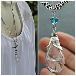 2PCS Glass Teardrop Dandelion Seed Necklace,Real Flower Jewelry,Wish Necklace