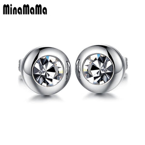 2PCS Hot 316L Surgical Stainless Steel Earring Round Clear Crystal Stud Earrings For Women Men Punk Jewelry Xmas Gift