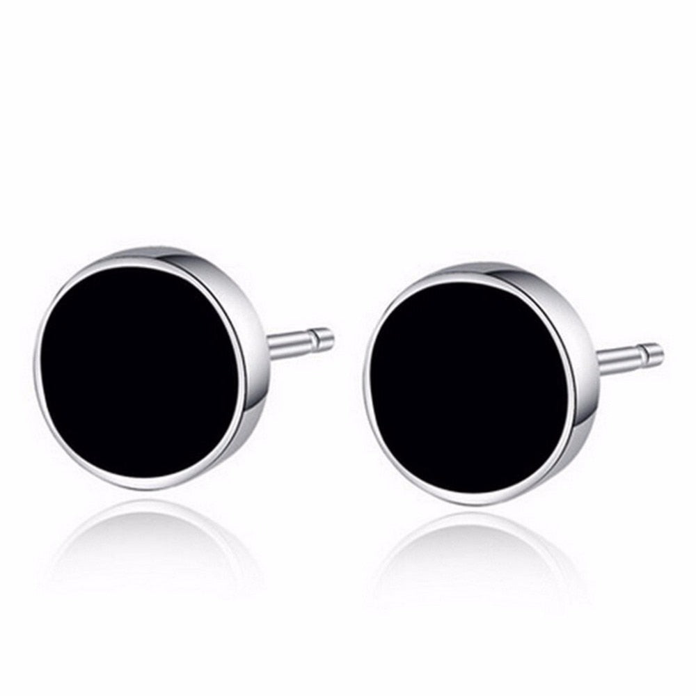 2Pieces Plastic Metal Punk Style Men Stud Men Black Round Ear Stud Earrings Ear Jewelry Gift Prevent Allergy Fashion