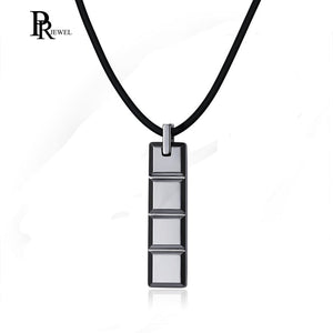 36mm Men's Tungsten Carbide High Polished Square Cut Stick Bar Pendant Necklace for Men Boy Personalized Gift