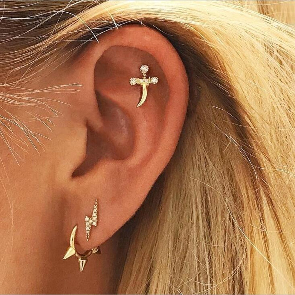 3PCS/set Simple Style Trendy Gold Color Geometric Personality Lightning Earrings For Women Fashion Stud Earrings Jewelry E0089