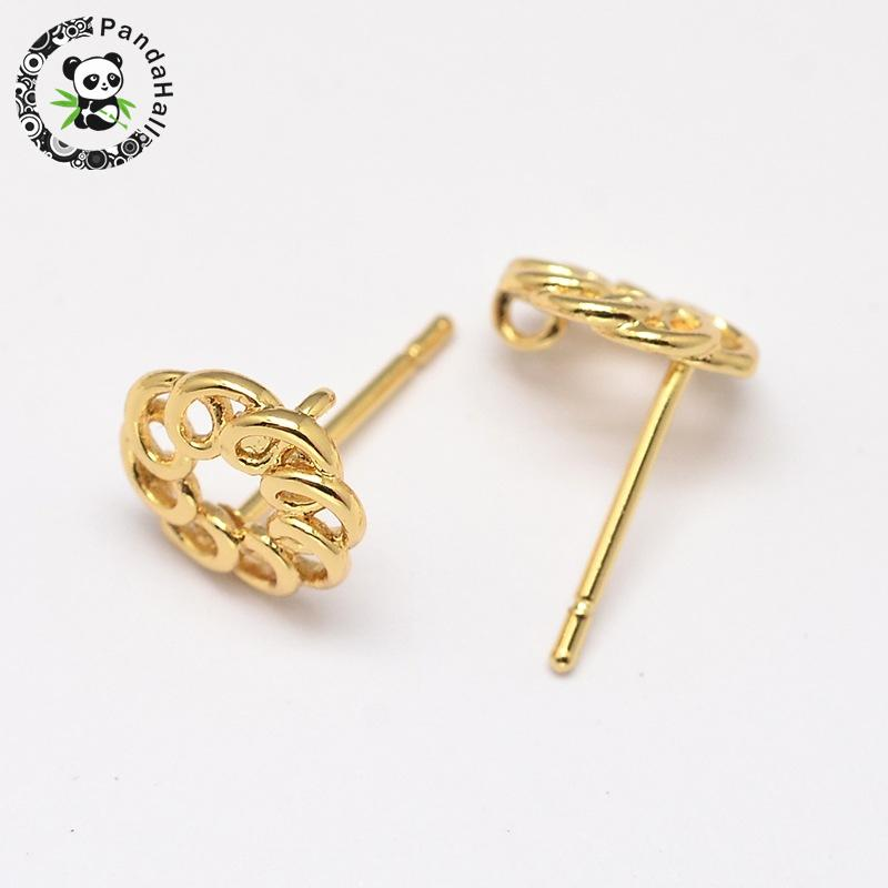 5pcs Environmental Brass Ear Studs, Lead Free & Nickel Free & Cadmium Free, Flower, Golden, 9mm; Pin: 0.8mm