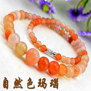 6-14mm Natural Agate Tower Chian Round Beads Necklace Jewelry Fine Beaded Necklace Jewelry For Women Gift With Certificate