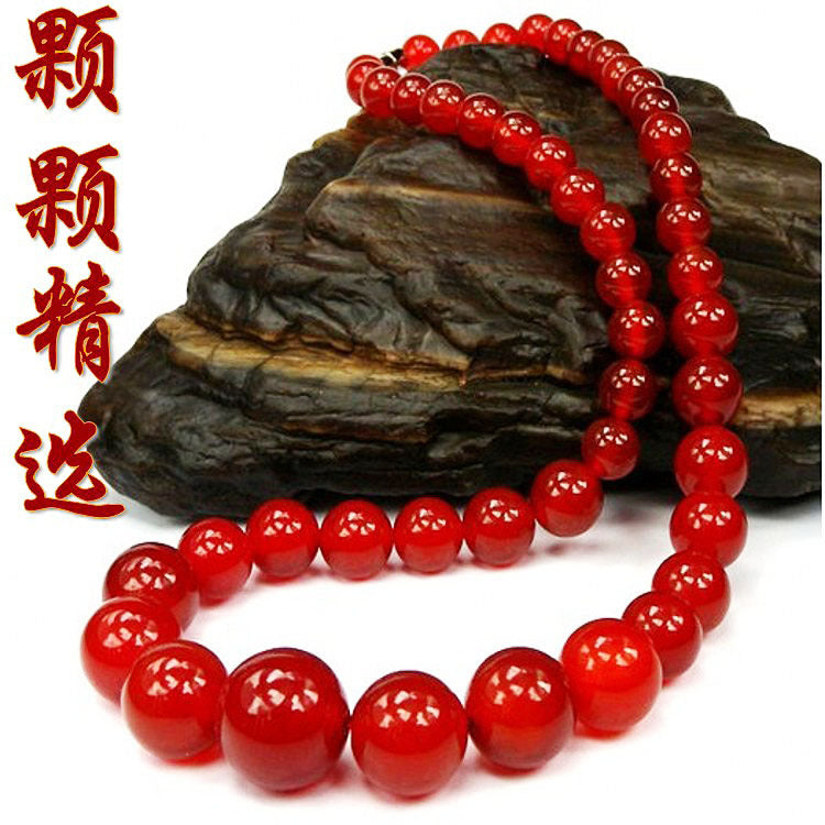 6-14mm Natural Red Agate Tower Chian Round Beads Necklace Jewelry Fine Beaded Necklace Jewelry For Women Gift With Certificate