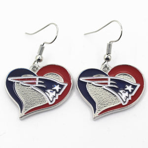 6 pair/lot USA Team Heart New England patriots Football Earring Team Sports Long ear hook Drop Earrings for Women Fans