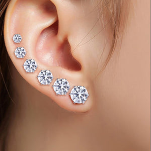 6Pairs/Set Stainless Steel Round Zircon Rhinestone Ear Studs Earrings Jewelry