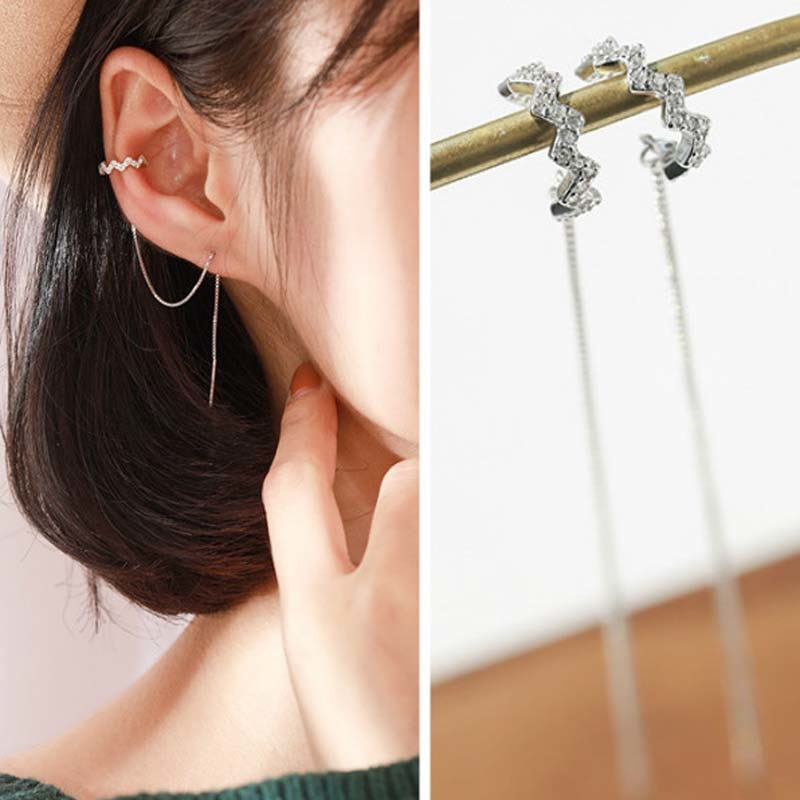 80% Silver Real Pure Solid 925 Sterling Silver Long Dangle Tassel Earrings Clip for Women Jewelry CZ Female Thread Earrings