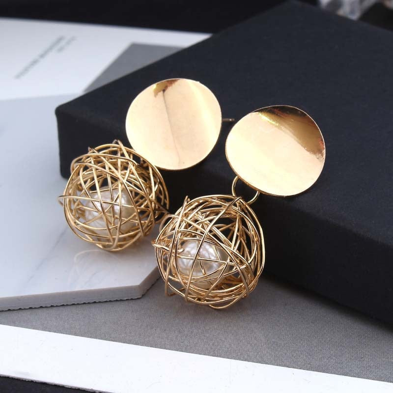 2018 Fashion Jewelry for Women Stud Earrings Gold Color Round Hollow Ball Imitation Pearl Hyperbole about 4*2cm 1 Pair