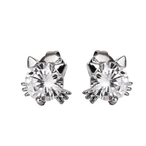 Copper Ear Post Stud Earrings Dull Silver Color Clear Cubic Zirconia Cat Animal Trendy For Women 8mm( 3/8), 1 Pair