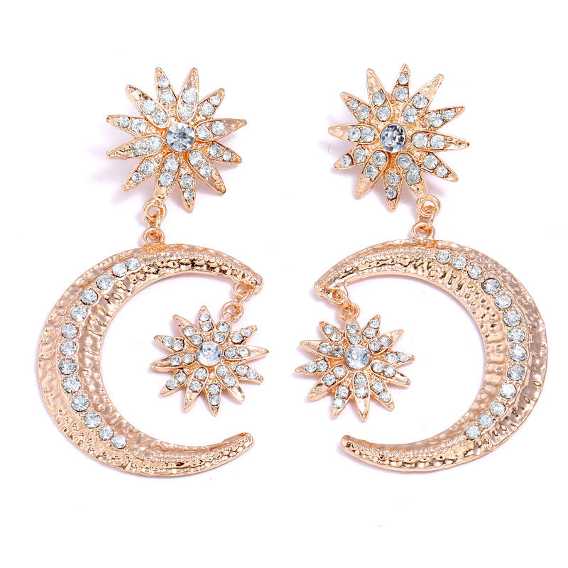 Hyperbole Trendy Stud Earrings Ear Studs Gold Color Half Moon Flower Clear Rhinestone Women Party Club Jewelry 1 Pair