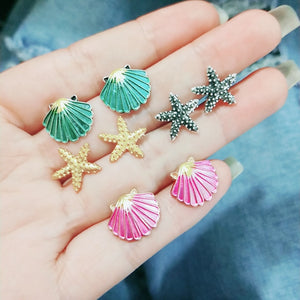 Marine Organisms Series Earrings Set Ear Stud Post Summer Trendy Jewelry for Women Men New Dropshipping 1 Set (4 pairs)