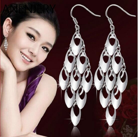 925 Sterling Silver Brand Fashion Exaggerated Peacock Tail Long Tassel Dangle Earrings For Women oorbellen S-E169