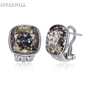 925 silver brown crystal stud earrings for woman trendy unique Pillow shape fashion snd fine jewelry party gift
