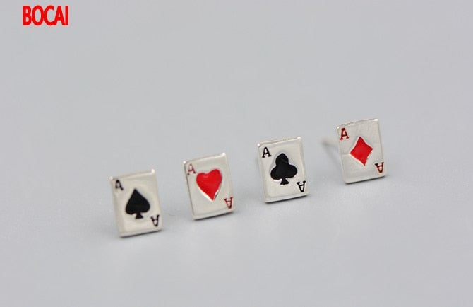925 silver male female Earrings Thailand imported A poker square Thai Tremella nail