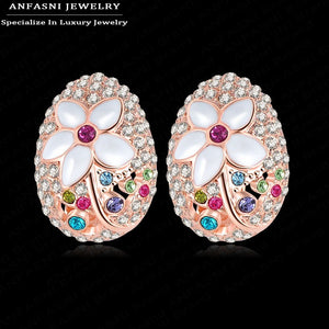 Noble Single Fashion Earrings Jewelry Rose Golden Color Genuine SWA Stellux Austrian Crystal Enamel Flower Earrings