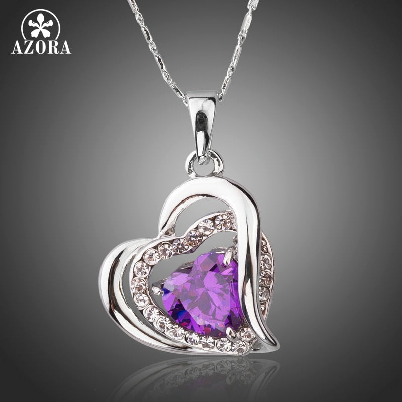 Forever Love Three Heart Superposition Romantic Purple Cubic Zirconia Pendant Necklaces for Valentine's D Gift TN0200