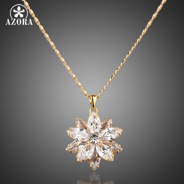 Sunflow Design Gold Color Gold Stellux Austrian Crystals Paved Pendant Necklace TN0003
