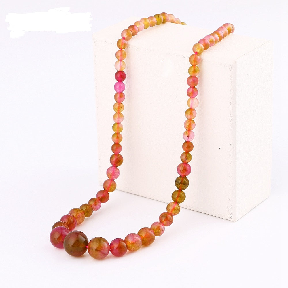 Agate Chain Necklace Natural Grade A Agate Power Crystal Women Jewelry Bead Bts Accessories Boho Bikini Choker Choker