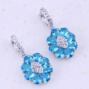 All Sky Blue Crystal Cubic Zircon Silver Color Drop Dangle Earrings For Women Wedding Party Fashion Jewelry C0060