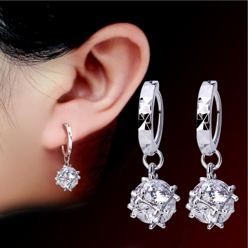 925 sterling silver Earrings Cubic Square Cube Candy Zircon Ball Drop Earrings brincos Valentine's D present S-E19