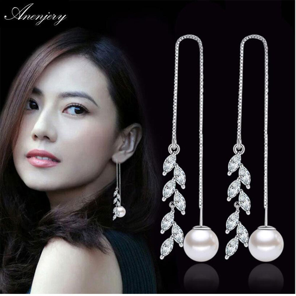 New Fashion 925 Sterling Silver Zircon Flower Leaves Box Chain Long Tassel Ear Line Luxury Pearl Drop Earrings S-E282