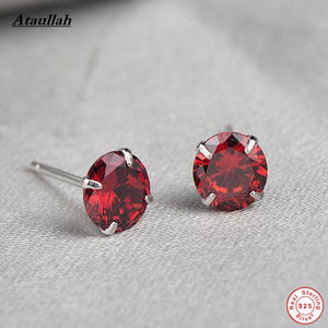6MM Natural Crystal Garnet Amethyst Agate 925 Sterling Silver Stud Earrings for Women Fine Silver Jewelry EWS201-Fine