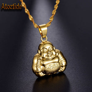 Brand Gold Color Laughing Buddha Charm Necklace Maitreya Maxi Necklace Fashion Gift